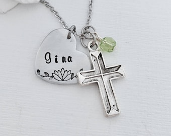 Cross Necklace, Necklace with Cross, Custom Name Necklace, Birthstone Necklace, Daughter Gift, Graduation Gift, Gift For Her, Grad Gift