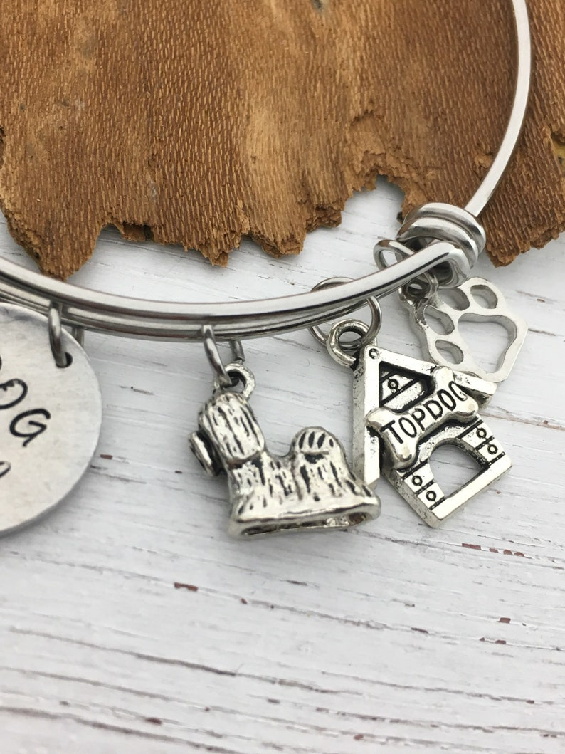 Shih tzu Bracelet gift for her Paw Charm Puppy Jewelry dog lover Shih Tzu gift Hand Stamped Custom Name Dog Gift for Friend