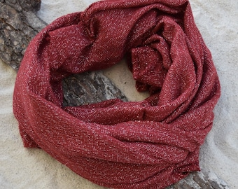 scarf for men, Red and Silver, Shawl Winter, Warm Scarf. scarf in winter, Christmas Gift for Women Stocking Stuffer for mother.