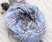 Big Blue Pink Blanket Scarf, Winter Scarf, Christmas Gift for Her Plaid Scarf Women Oversize Sized Scarf Gift For Her Super Big Scarf