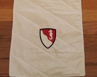 Military Unit Table Runner, Embroidered Army Table Runner, Custom Military Table Runner, Military Crest Table Runner
