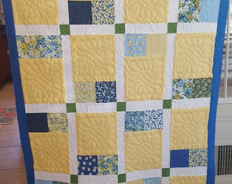 Free Shipping, Baby Girl Quilt, Blue and Yellow Quilt, Toddler Quilt, Nursery Quilt,  Floral Quilt, Spring Quilt, Baby Quilt, Quilt Shop