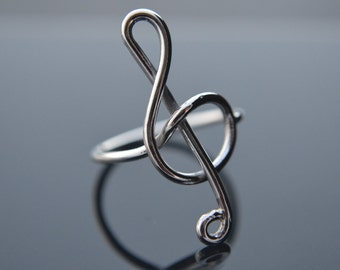 Music Note Ring, Treble Clef Ring, 925 Sterling Silver, Silver Wire Ring