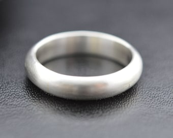 Sterling Silver Ring, Brushed Finish, Half Round, D  Shaped, Wedding Band, Thumb Ring, Pinkie Ring, Sterling Silver 925