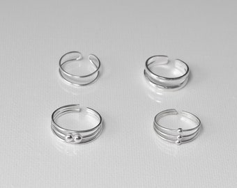Sterling silver toe ring, Plain silver toe ring, double band silver toe ring, Triple band ring,  Silver kid's ring, silver pinky ring