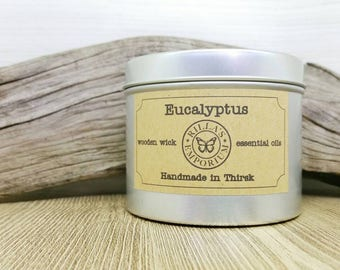 Eucalyptus - Wooden Wick Travel Candle