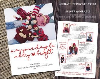 MERRY AND BRIGHT Christmas Card - Year in Review Backside Included - Digital/Printable