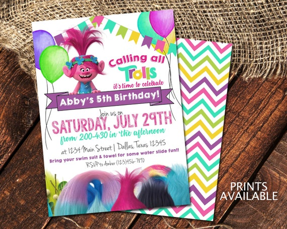 Trolls Birthday Invitations Princess Poppy Birthday Party Invite Calling All Trolls