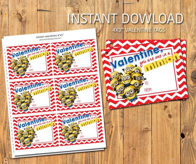 MINIONS VALENTIES  You are one in a MINION  Instant Download image 0