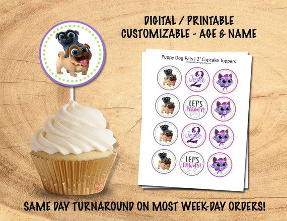 Puppy Dog Pals Cupcake Toppers Customized Name Age Etsy