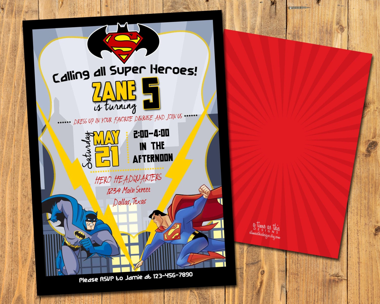 BATMAN vs SUPERMAN Dawn of Justice INVITE Superhero Birthday | Etsy