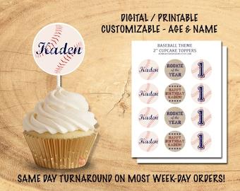BASEBALL CUPCAKE TOPPERS | Printable Baseball Party Decor | Baseball Birthday Party