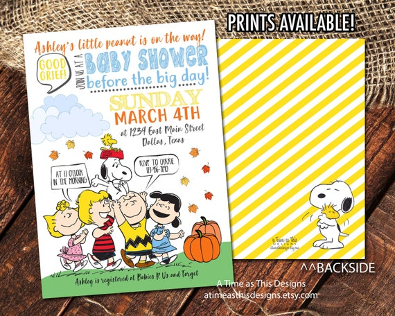 Peanuts Baby Shower Invitation Charlie Brown Baby Shower Etsy