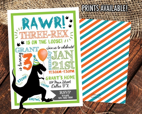 THREE REX INVITATION TRex Dinosaur Birthday Party Invite