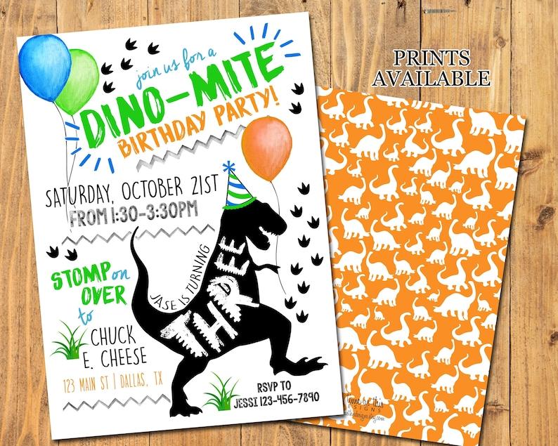 DINOSAUR PARTY INVITATION  Dinosaur Birthday Party  TRex image 0