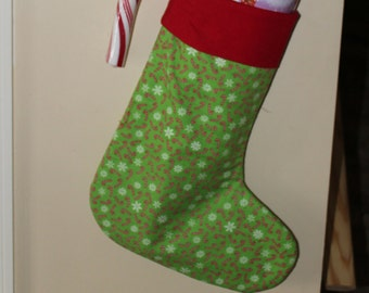 Candy Cane Christmas stocking /Green