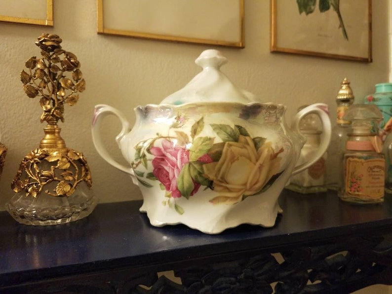 Bowls Ceramics & Porcelain Antique Hp Roses Bowl Gold Stunning Germany Chic Not Shabby Stunning