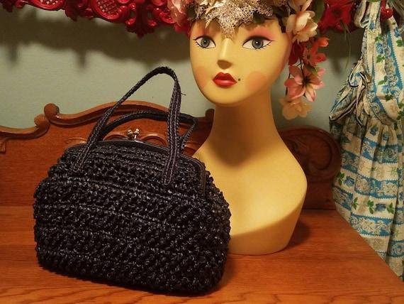 Designer Babette Navy blue straw kelly handbag 50… - image 1