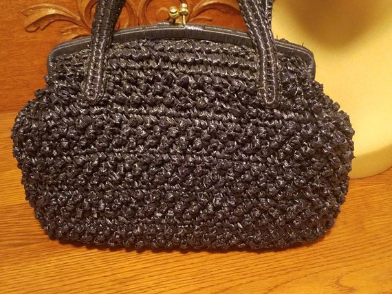 Designer Babette Navy blue straw kelly handbag 50… - image 3