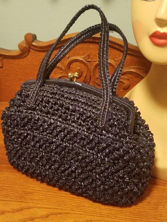 Designer Babette Navy blue straw kelly handbag 50… - image 2