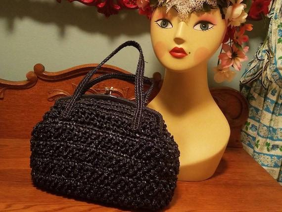 Designer Babette Navy blue straw kelly handbag 50… - image 6