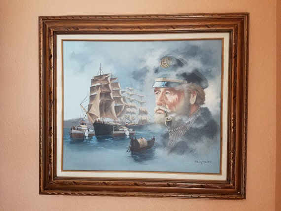 Amazing Old Sea Captain Oil Painting Nautical Wall Office Etsy