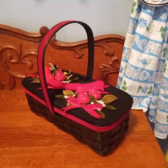 Kitschy Black wicker basket top handle kelly handb