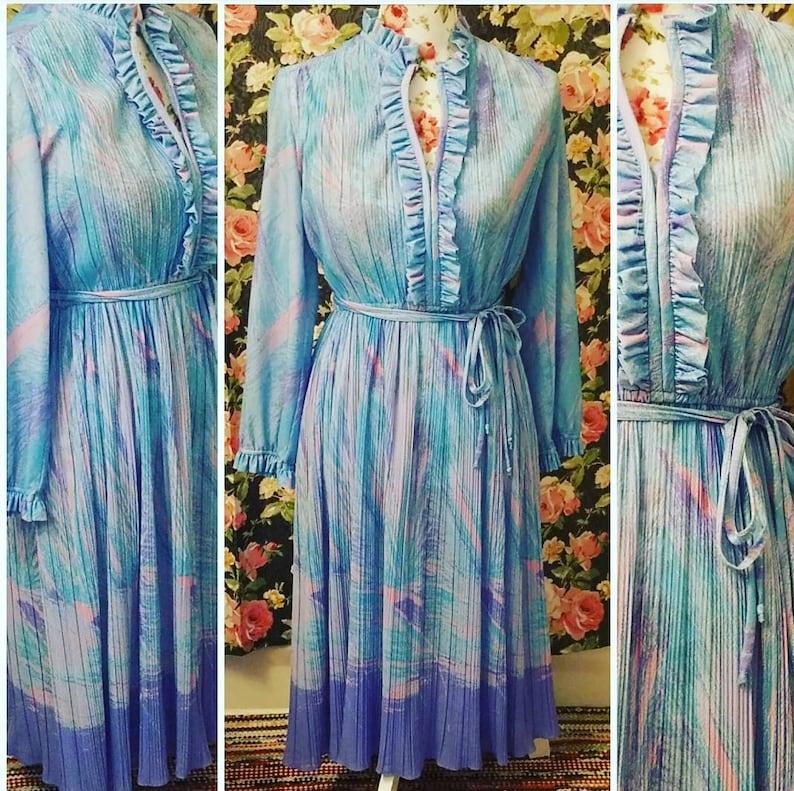 Blue pink purple polyester dress designer Hal Feerman size large 10-11 50s 60s era