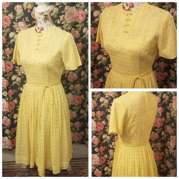 60s mod polyester eyelet yellow fit and flair dres