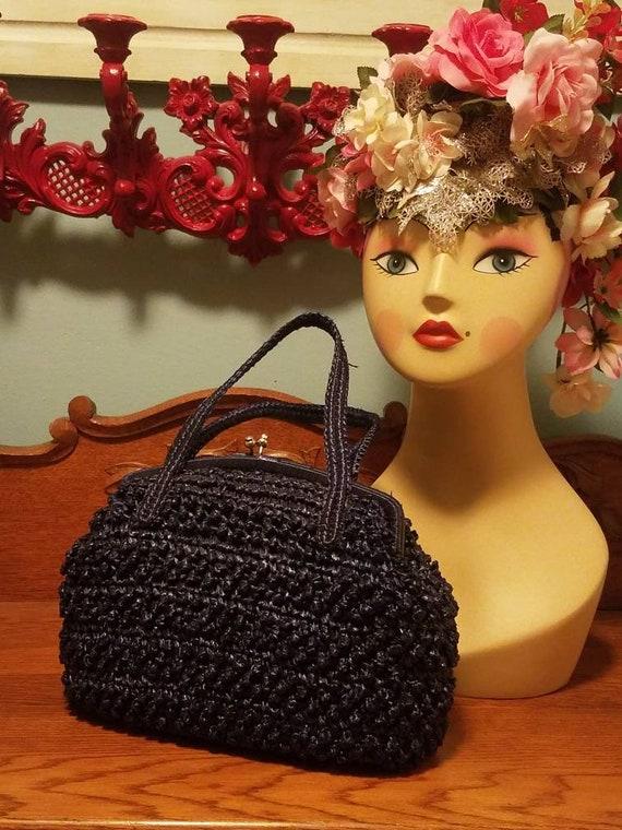 Designer Babette Navy blue straw kelly handbag 50… - image 5
