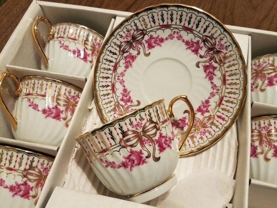 Set Of 6 Tea Cups With Pink Roses 22k Gold Bows And Trim Etsy