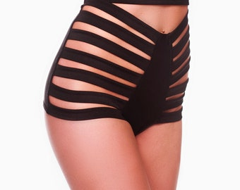 Sexy Strappy High-Waist Shorts Clubwear Pole Dancing Stripper Exotic Performance Aerial Burlesque Costume Sexy Stretching Clubwear