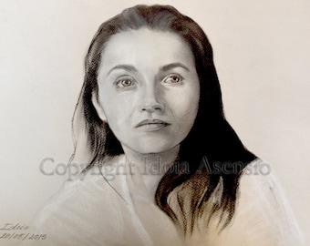 Retrato hecho a mano de tus fotos, a carboncillo y conté, original, dibujo realista, familia, niños, mascotas