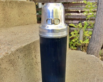 Dark Blue Universal Thermos with Nesting Cups Patented in 1917 by Landers, Frary and Clark