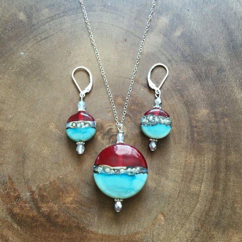 Red Lampwork Necklace Earring Set Lampwork Jewelry Turquoise Lampwork Jewelry Turquoise Jewelry Turquoise Necklace Womens Jewelry