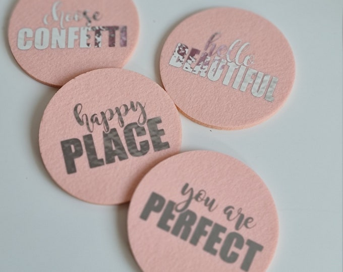 Glass coasters made of felt in a pack of 4 for birthdays, weddings, events, home or just for fun