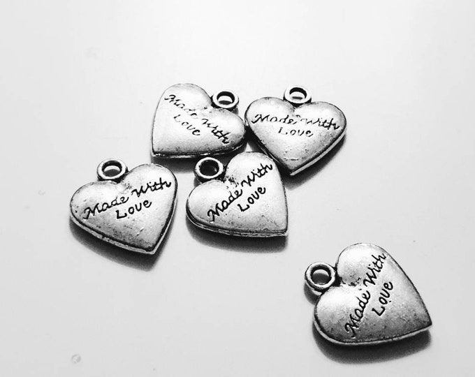 """Tag """"Made with love"""" silver color for a handmade project - set of 10"""
