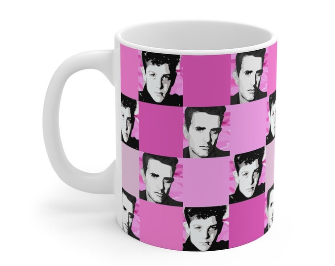 Mug 11oz SQUARED NKOTB JOE pink by Iris C. Reinhardt - exclusive pattern - New Kids On The Block