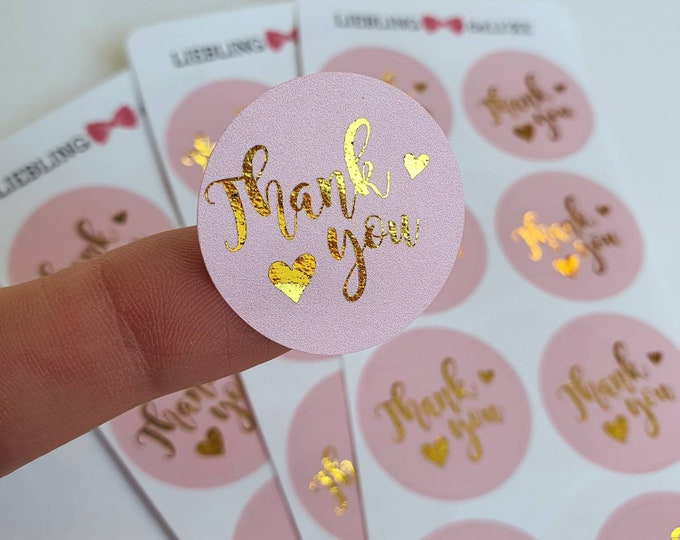 Pink Thank you - Foiled Stickersheet