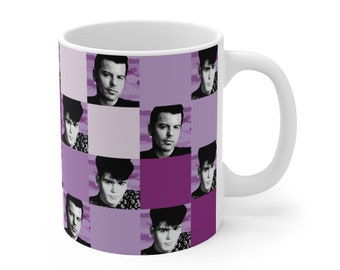 Mug 11oz SQUARED NKOTB JORDAN purple by Iris C. Reinhardt - exclusive pattern - New Kids On The Block