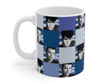 Mug 11oz SQUARED NKOTB JORDAN blue by Iris C. Reinhardt - exclusive pattern - New Kids On The Block