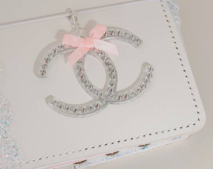 Glamorous Designer inspired clear Planner Charm with beautiful Rhinestones and a cute little pink bow