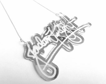 Sterling Silver Necklace JORDAN NKOTB Signature Lasercut/Engraved