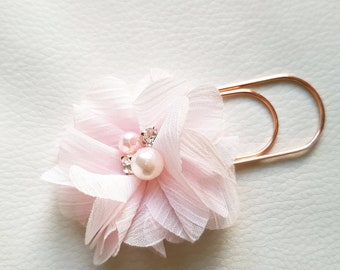 Planner Bookmark with beautiful light pink Flower, Pearl and Rhinestones