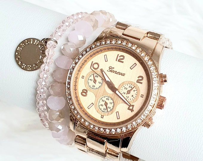 Sparkling watch in goldrose
