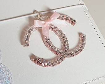Glamorous Designer inspired Planner Charm with beautiful pink glitter, Rhinestones and a cute little pink bow