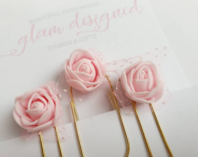 Set of 3 golden Planner Paperclips with beautiful light pink roses