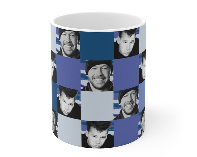 Mug 11oz SQUARED NKOTB DONNIE blue by Iris C. Reinhardt - exclusive pattern - New Kids On The Block