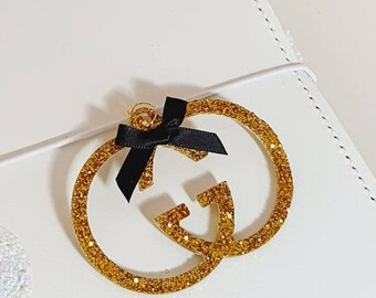 Glamorous Designer inspired Planner Charm with beautiful golden Glitter and black bow