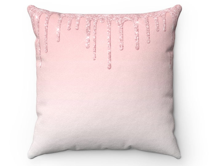 Pinkglitter Faux Suede Pillow